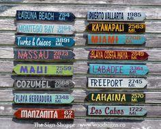 Outdoor Decor, Yard Sign, City Mileage Arrow Customized Backyard Garden, Personalized Beach, Coastal, Nautical, Directional, Arrow, Drift Wood, Hand Painted Signs, Rustic