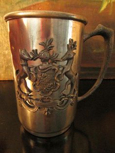 Norsk Pewter Tinn Norwegian Antique Tankard With Coat of Arm – Designer Unique Finds