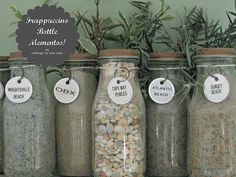 Transform Starbucks Frappuccino Bottles into Storage Jars: sand, pebbles/rocks, dirt, sandstone, etc.