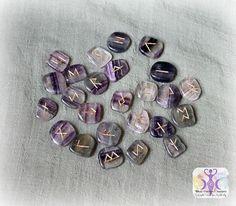 Gemstone Rune Set with Velvet Goddess Bag