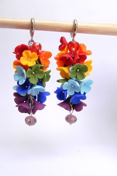 Rainbow earrings  Flower earrings  Summer earrings by insoujewelry, $38.00