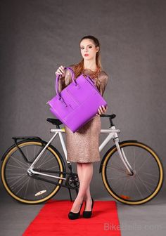 Stylish, velvet bicycle pannier from Bike Belle