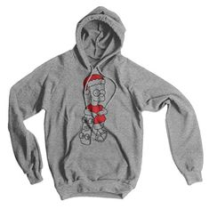 Bart Simpson Merry Christmas, Man American Apparel Hoodie, Heather Grey, Small