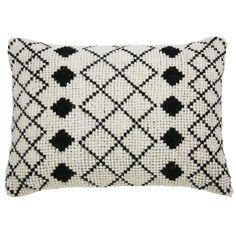 Cojín de lana y algodón crudo con motivos negros 40x60 cm LOTI