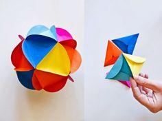 我們看到了。我們是生活@家。: 將圓形紙摺出等邊三角形,再兩兩相連,約20個就能拼出一個球形了
