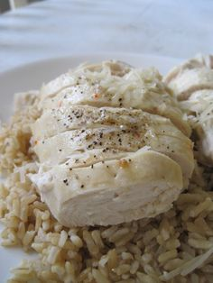 Quick Italian Parmesan Chicken  4 boneless, skinless chicken breast  1/2 c. low fat Zesty Italian Dressing  3/4 c. parmesan cheese  salt and pepper