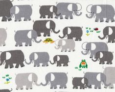 Happy Drawing - Elephants - Organic by Ed Emberley from Cloud 9 Fabrics - 1 Yard