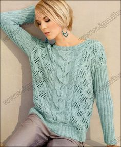 Узорчатый пуловер цвета мяты от Lana Grossa