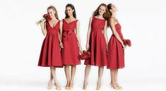 white and red bridesmaid dresses