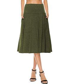 aaf736fffb67b YiLiQi Women's High Waist Knitted Pleated Pocket Midi Skirt Army Green-S  Chiffon