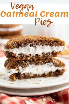 Feb 2020 - This simple vegan oatmeal cream pie recipe is soft, sweet, chewy and delicious! Spiced oatmeal cookies with a fluffy and creamy vanilla frosting in between! Healthy Vegan Desserts, Vegan Dessert Recipes, Vegan Treats, Vegan Foods, Vegan Snacks, Vegan Dishes, Dairy Free Recipes, Baking Recipes, Dessert Healthy