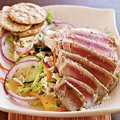 Pan Grilled Thai Tuna Salad - Healthy Recipes for Two - Cooking Light Mobile Fresh Tuna Recipes, Fish Recipes, Seafood Recipes, Salad Recipes, Dinner Recipes, Healthy Recipes, Seafood Dishes, Tuna Steak Recipes, Seafood Meals