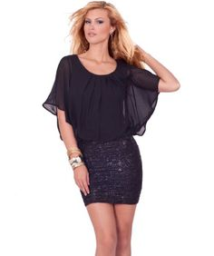Sheer Bat Wing Sleeve Embossed Fitted Skirt Clubwear Party Dress S M L  #dress #skirt #sheer