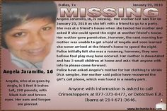 Missing Persons Posters Magnificent Missing Persons Poster For Angela Jaramillo  Help Find Angela .