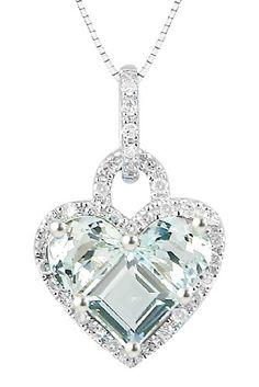 10k Gold Half Moon and Princess Aqua Stone Set and Diamond Heart Pendant Necklace