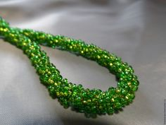 Купить Турецкий жгут зеленый из бисера - комбинированный, жгут из бисера, жгут, жгут вязанный из бисера