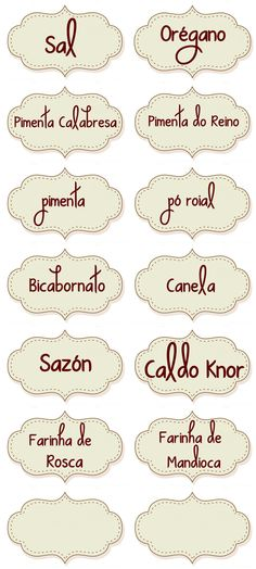 Infinitas Possibilidades - Blogger: Diy - Como fazer etiquetas para temperos Printable Labels, Printables, Diy And Crafts, Paper Crafts, Freebies, Personal Organizer, Decoupage Vintage, Scrapbook, Stencils
