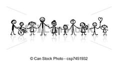 Vector - Family together, sketch for your design - stock illustration, royalty free illustrations, stock clip art icon, stock clipart icons, logo, line art, EPS picture, pictures, graphic, graphics, drawing, drawings, vector image, artwork, EPS vector art