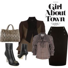 """Girl About Town"" created by #the-house-of-kasin, #polyvore #fashion #style See by Chloe #Oasis #Givenchy Christian Dior Miu Miu military jackets #bows ankle boots"