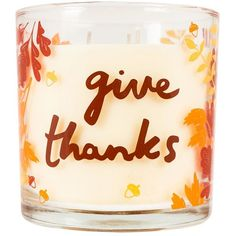 "SONOMA Goods for Life™ ""Give Thanks\"" Harvest Gathering 14-oz. Candle... ($9.99) ❤ liked on Polyvore featuring home, home decor, candles & candleholders, multicolor, colorful candles, autumn scented candles, 3 wick scented candles, fall candles and fall leaves candle"