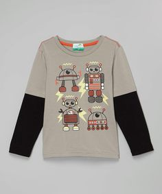 Look what I found on #zulily! Gray Robot Layered Tee - Toddler & Boys #zulilyfinds