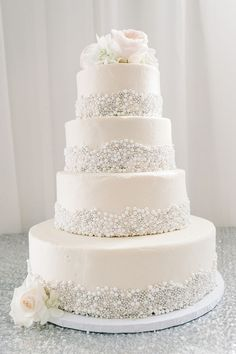 elegant sugar pearl wedding cake ideas
