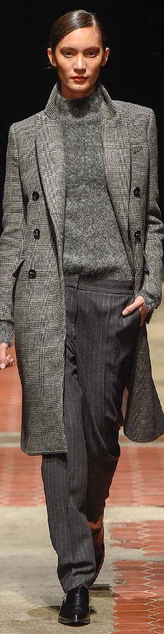 Copenhagen ~ Grey Plaid Double Breast Top Coat,   Fall 2015