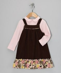 Take a look at this Brown Floral Top & Jumper - Infant & Toddler by Petit Confection on #zulily today!