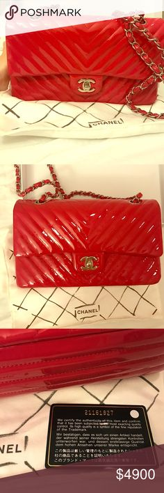 Chanel chevron medium classic Authentic chanel chevron medium classic bag in red patten CHANEL Bags Shoulder Bags