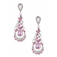 #jewelry Silver Light Rose Rhinestone Teardrop Pear Shaped Dangle Earrings