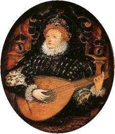 Elizabeth I Playing the Lute c. 1580 by Nicholas Hilliard