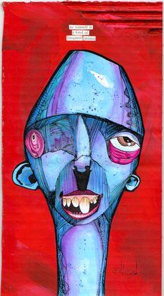 """animal"" anthead 6x11.5 recycled cardboard outsider graffiti folk art pop urban  #OutsiderArt"