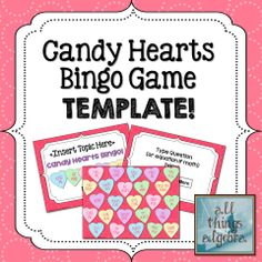 Valentine's Day Candy Hearts Bingo Game Template