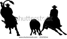 Rodeo cowboy silhouettes  #rodeo #silhouette #illustration