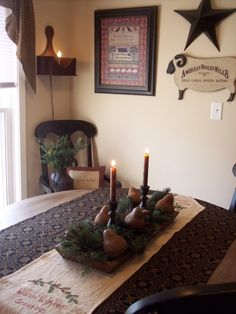 Image detail for -Cozycoop's Primitive Christmas dining room, My small dining room is ...even pears for the Christmas tree!