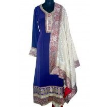 royal blue anarkali with broad embroidery at the border and white beautiful dupatta