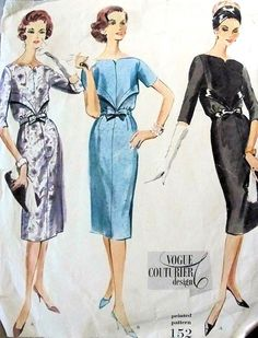 1950s Slim Cocktail Dress Pattern Vogue Couturier Design 152 Stunning Neckline Slim Dinner Evening Dress Bust 32 Vintage Sewing Pattern