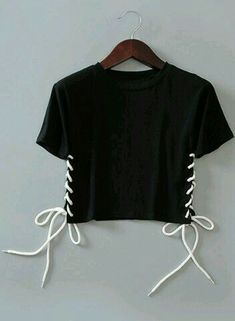 Brief Round Neck Short Sleeve Womens Cropped Tee - Love Shirts - Ideas of Love Shirts - - Lace up t-shirt Teen Fashion Outfits, Mode Outfits, Diy Fashion, Trendy Outfits, Fashion Design, Fashion Site, Fashion Trends, Fashion Stores, Cheap Fashion