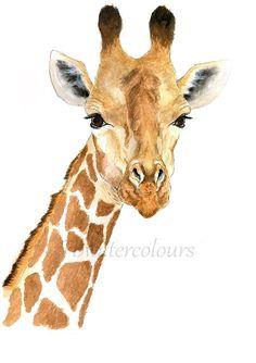 Fine Art Watercolour Giraffe Painting jungle safari nursery