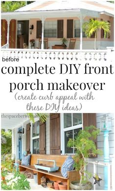 See how a few DIY projects totally transformed the look of this front porch and increased the curb appeal, a huge impact on resale value for this property for sure.