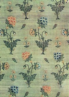 ~ Brocade (part of a robe). Repeats of flowering plants Persia, second half of…