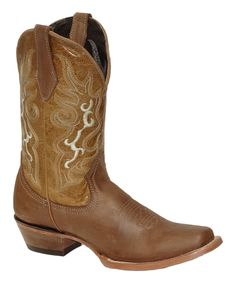 Light Brown Embroidered Leather Cowboy Boot - Women