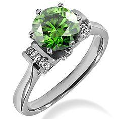 2 Carat VS1 Fancy Green Diamond Engagement Ring