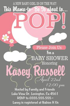 Girl Baby Shower Pop Balloon Invitation Girl by smrpartydesigns, $10.00