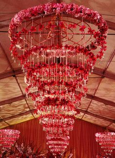 Preston Bailey's genius at work with his specialty of floral chandeliers