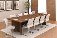 A mesa é o móvel central em uma sala de reuniões. Por isso, ela deve ter um tamanho adequado para comportar o número de pessoas que frequentemente estarão presentes nas reuniões. Insight, Conference Room, Base, Furniture, Home Decor, Meeting Rooms, Gifts, Decorating Ideas, People