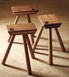Sturdy and versatile three-legged stool, handcrafted in Cumbria from oak. It can also be used as a side table. Legs are removable for ease of storage. Wooden Furniture, Furniture Design, Japanese Woodworking Tools, Three Legged Stool, Milking Stool, Bar Stools With Backs, Wood Stool, Wooden Tables, Furniture Making