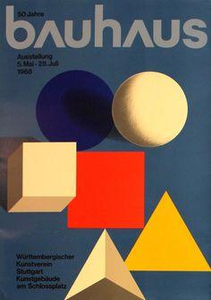 "bauhaus-movement:  ""Poster advertising the 50 Years of Bauhaus Exhibition in Stuttgart, 5 May to 28 July 1968.  """