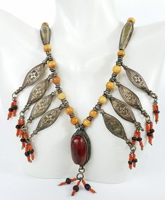 Vintage Afghani Necklace Red Jasper Silver Hand Stamped Seed Beads Ethnic Orange   Jewelry & Watches, Vintage & Antique Jewelry, Costume   eBay!
