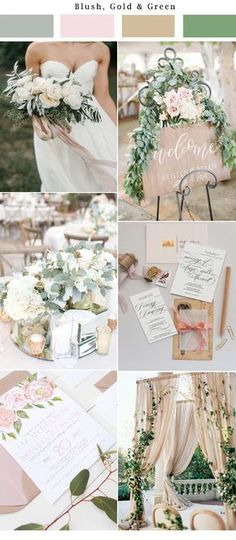 Neutral, gold, blush, nude palette wedding. Very elegant and whimsical! Invites from Unica Forma